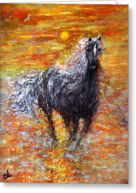 Greeting Card featuring the painting Release.. by Cristina Mihailescu