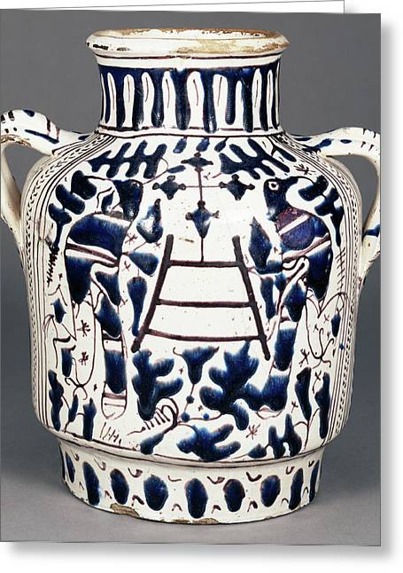 Relief-blue Jar With Harpies And Birds Probably Greeting Card by Litz Collection