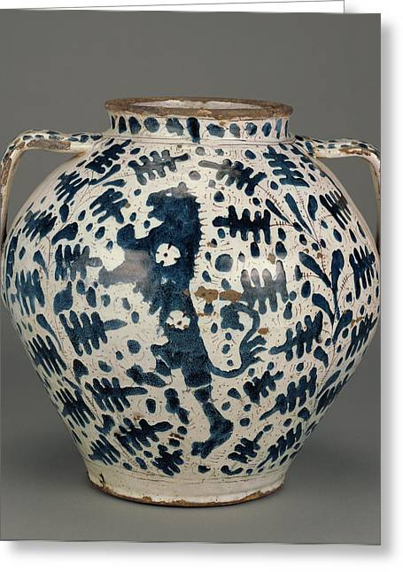 Relief-blue Jar With Rampant Lions Unknown Florence Probably Greeting Card