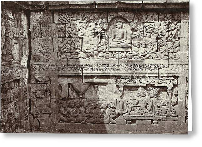 Relief In One Of The Layers Of The Borobudur Indonesia Greeting Card by Artokoloro