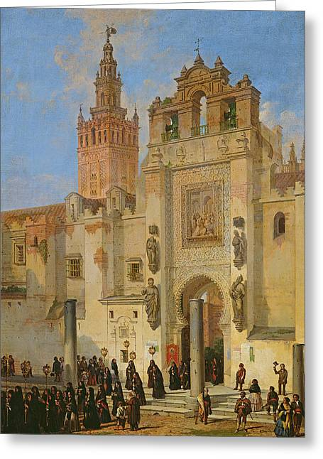 Religious Procession In Seville, 1853 Oil On Canvas Greeting Card by Joachin Dominguez Becquer