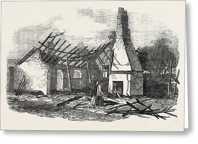 Remains Of The National School At Capel Near Ipswich Struck Greeting Card by English School