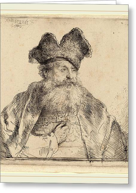 Rembrandt Van Rijn Dutch, 1606-1669, Old Man With A Divided Greeting Card