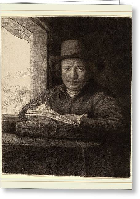 Rembrandt Van Rijn Dutch, 1606-1669, Self-portrait Drawing Greeting Card by Litz Collection
