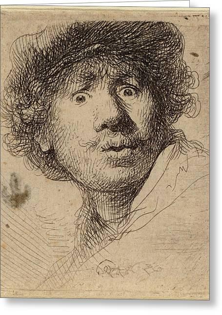 Rembrandt Van Rijn Dutch, 1606 - 1669, Self-portrait Greeting Card by Quint Lox