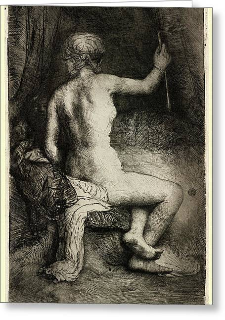 Rembrandt Van Rijn, Woman With The Arrow Greeting Card