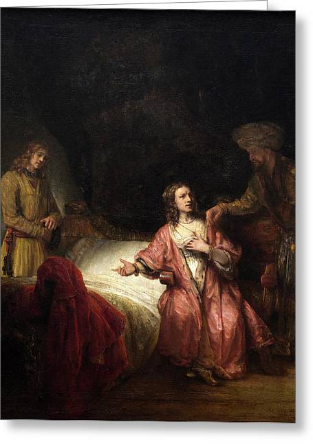Rembrandt Workshop, Joseph Accused By Potiphars Wife Greeting Card by Quint Lox