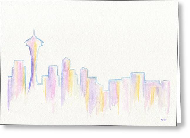 Remember Seattle Greeting Card by Roz Abellera Art