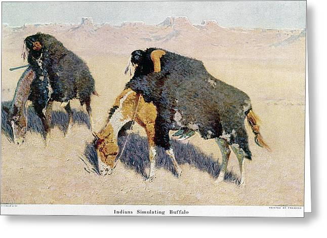 Remington Buffalo Hunt Greeting Card by Granger