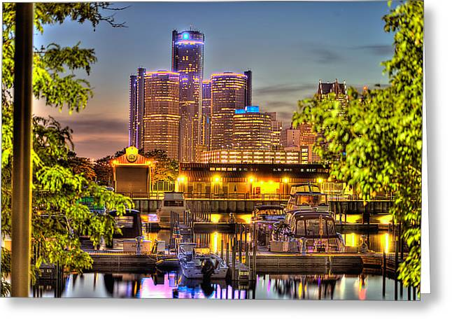 Ren Cen From Chene Park Harbor Detroit Mi Greeting Card by A And N Art