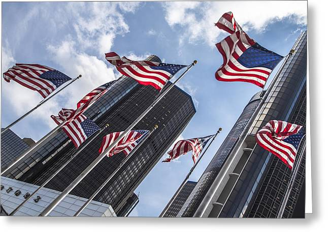 Ren Center With American Flags  Greeting Card by John McGraw