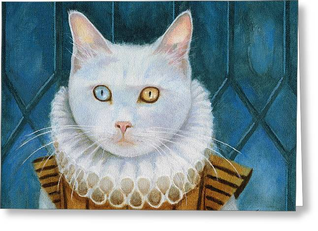 Greeting Card featuring the painting Renaissance Cat by Terry Webb Harshman