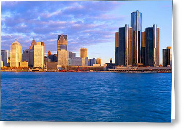 Renaissance Center, Detroit, Sunrise Greeting Card by Panoramic Images