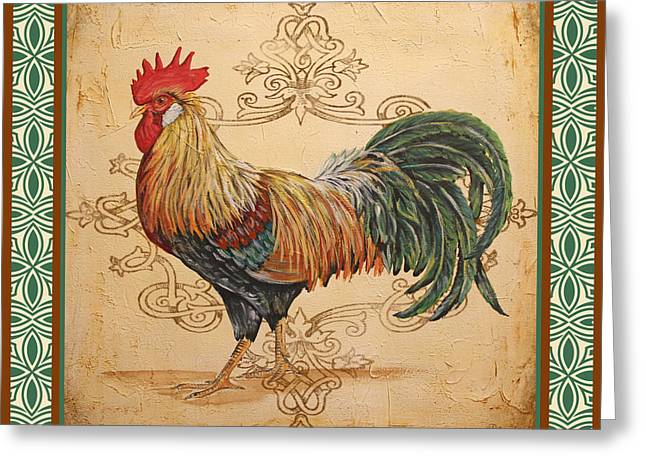 Renaissance Rooster-a-green Greeting Card by Jean Plout