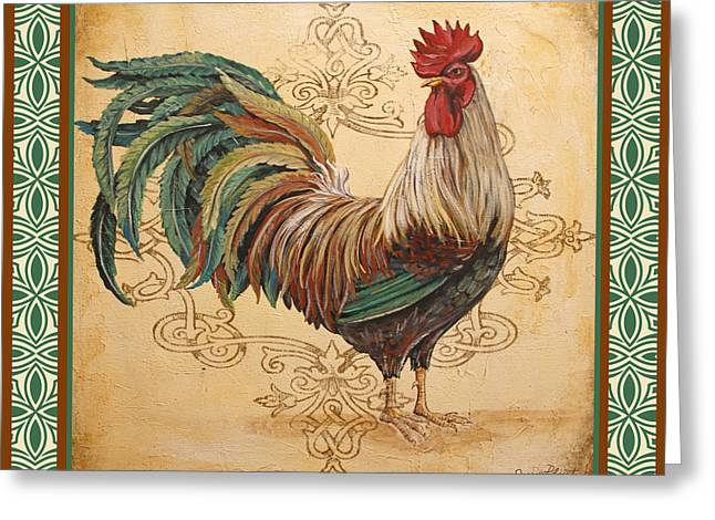 Renaissance Rooster-d-green Greeting Card by Jean Plout