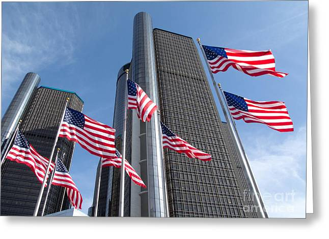 Rencen And Flags Greeting Card