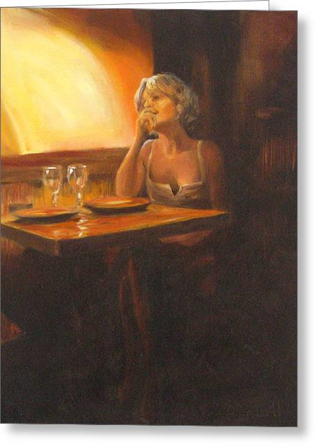 Rendevous At The Indian Restaurant Greeting Card