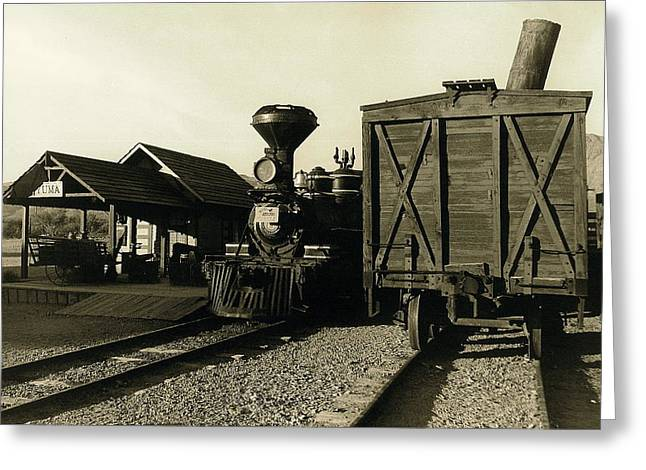 Reno Rr Station Old Tucson Arizona Greeting Card by David Lee Guss