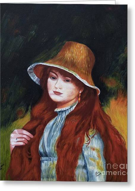 Renoir-young Girl In A Straw Hat Greeting Card