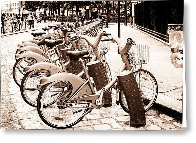 Rent A Bike In Paris Toned Greeting Card by Georgia Fowler