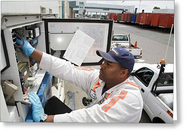 Repairing Refrigerated Cargo Container Greeting Card