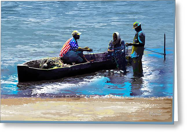 Greeting Card featuring the painting Repairing The Net At Lake Victoria by Anthony Mwangi