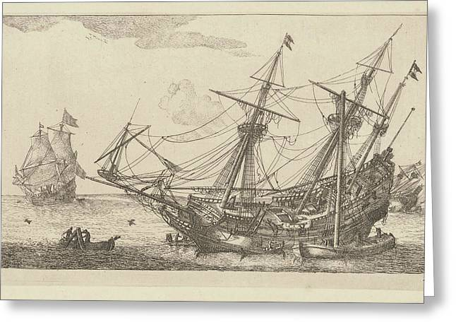 Repairs To The Hull Of A Merchant Ship, Anonymous Greeting Card by Anonymous And Reinier Nooms