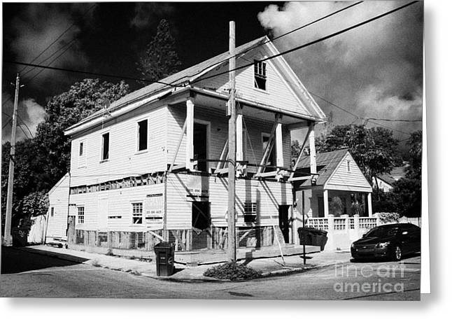 Repairs To Traditional Two Storey Wooden House In The Old Town Of Key West Florida Usa Greeting Card by Joe Fox