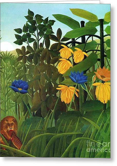 Repast Of The Lion Greeting Card by Pg Reproductions
