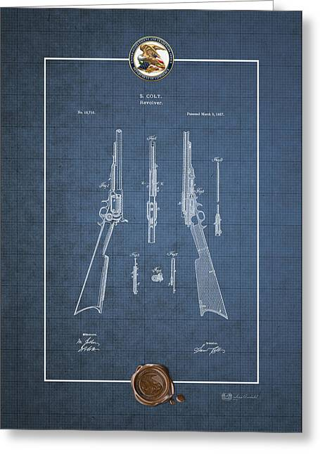 Repeating Rifle Lubrication Method By S. Colt - Vintage Patent Blueprint Greeting Card by Serge Averbukh