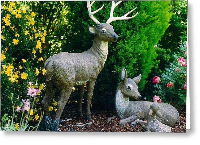 Replica Of Deer Family Greeting Card