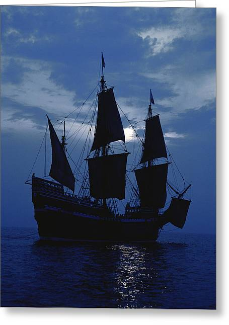 Replica Of Mayflower II Greeting Card by Panoramic Images