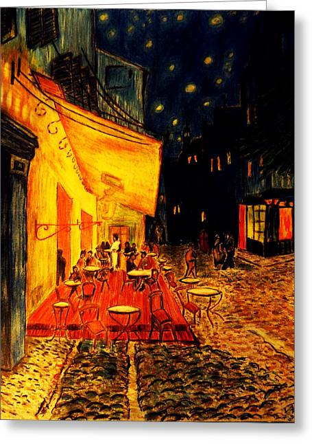 Replica Of Van Gogh's Cafe At Night Greeting Card by Jose A Gonzalez Jr