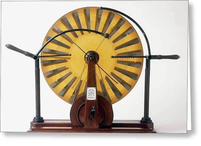 Replica Of Wimshurst Machine Greeting Card by Dorling Kindersley/uig