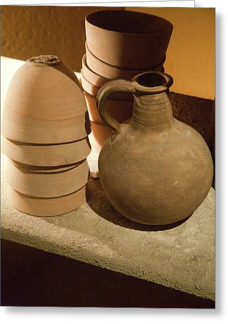 Replicas Of Ancient Essene Pottery Greeting Card by Dave Bartruff