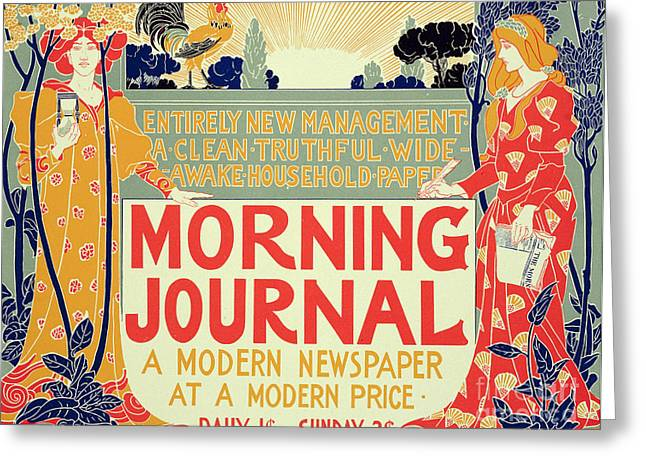 Reproduction Of A Poster Advertising The Morning Journal Greeting Card by Louis John Rhead