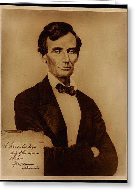 Reproduction Print Of Lincoln With Signature Inserted August 13 1860 Greeting Card by MotionAge Designs