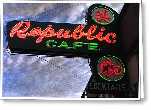Republic Cafe Greeting Card by Gail Lawnicki