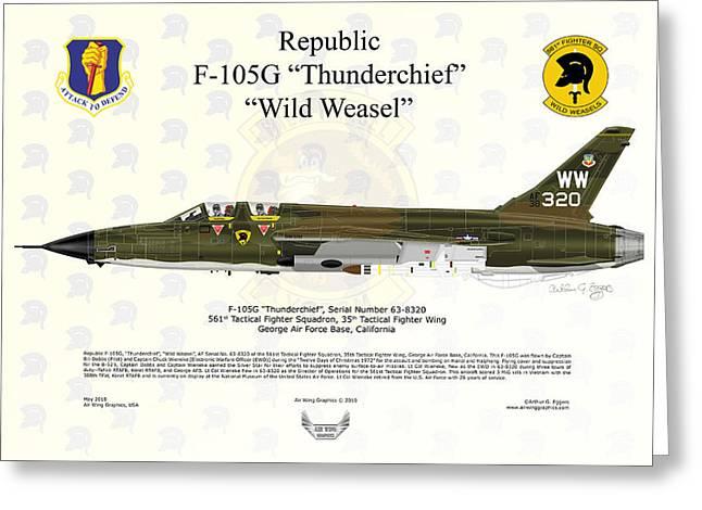 Republic F-105g Thunderchief 561tfs Greeting Card by Arthur Eggers