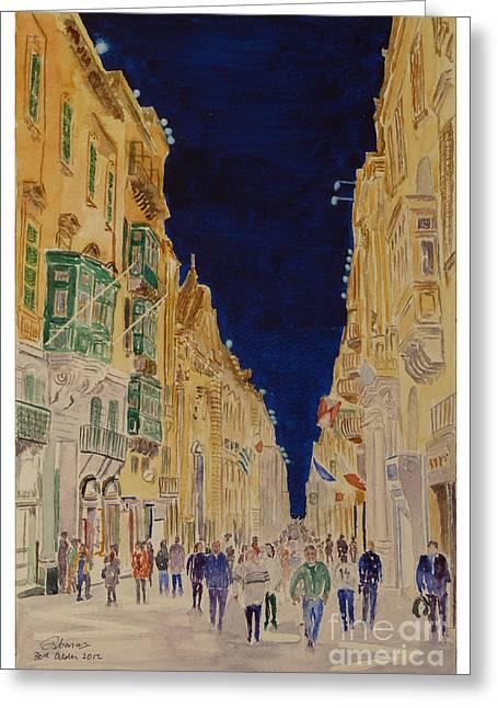 Republic Street Valletta Malta Greeting Card