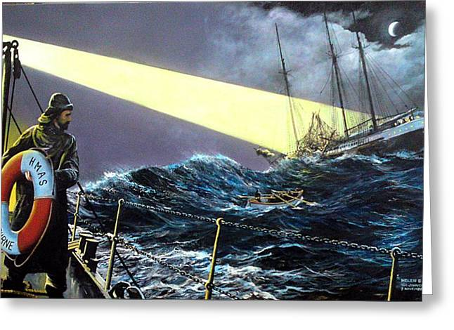 Greeting Card featuring the painting Rescue Of The Helen B.  Sterling 1922 by Tim Johnson