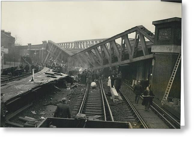 Rescue Work Goes On In The Lewisham Rail Crash Engineers Greeting Card by Retro Images Archive