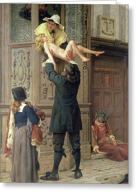 Rescued From The Plague, London 1665, 1898 Oil On Canvas Greeting Card
