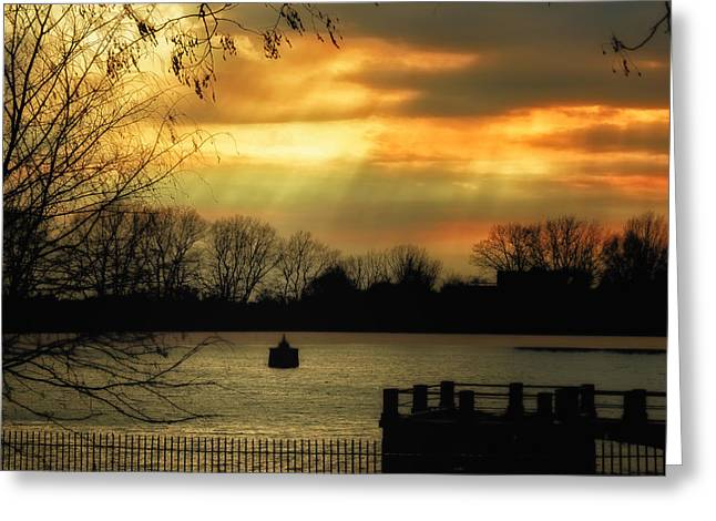 Reservoir Afternoon Greeting Card by Susan Desmore