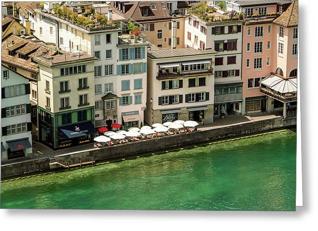 Residential†houses And River, Zurich Greeting Card