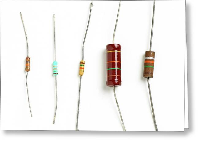 Resistors Greeting Card by Science Photo Library