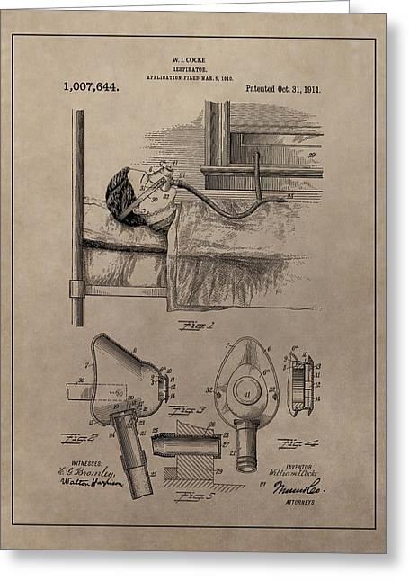 Respirator Patent Illustration 1911 Greeting Card