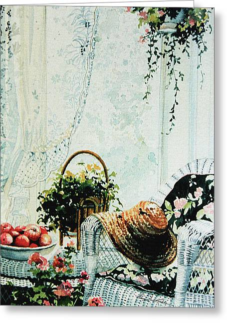 Rest From Garden Chores Greeting Card by Hanne Lore Koehler