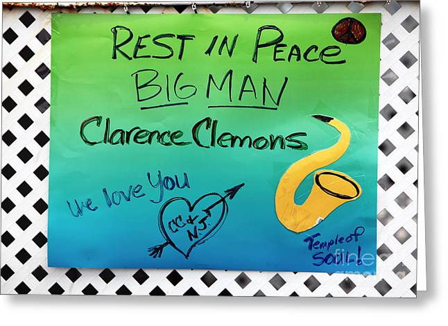 Rest In Peace Big Man Greeting Card by John Rizzuto