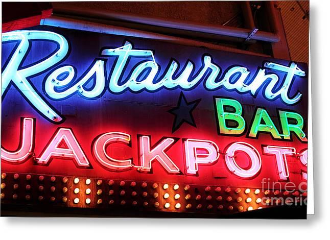 Restaurant Bar Jackpots Greeting Card